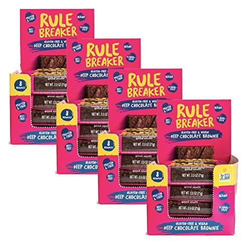 Rule Breaker Snacks, Deep Chocolate Brownies, Healthy and Unbelievably Delicious, Gluten Free, Nut Free, Free from Top Eight Allergens, Vegan, Kosher (32-pack)