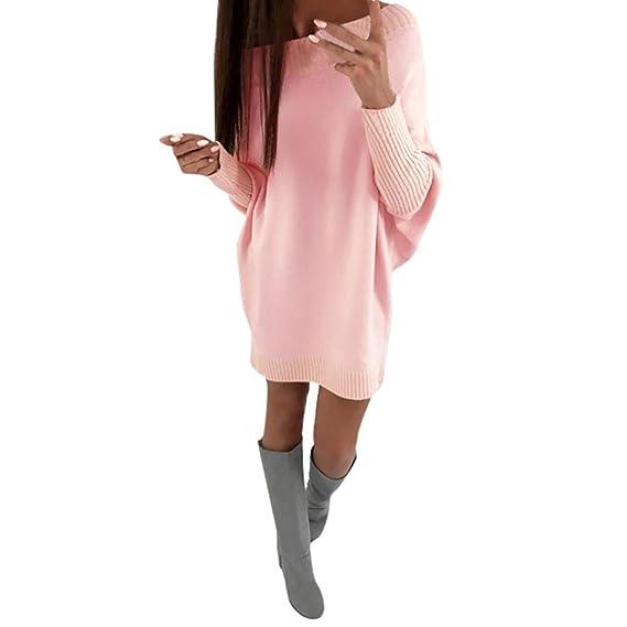 Pullover Kleid Dasongff Damen Mode Frauen Hohes Kragen Lange Hülsen Normallack Strick jackekleid Slim Fit Stretch Strickkleid Pullikleid Turtleneck