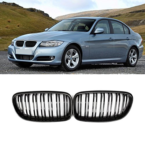 Fandixin E90 Grille, Carbon Fiber Front Kidney Grill Front Bumper Hood Grill for BMW 3 Series E90 E91 Facelift 2009-2011