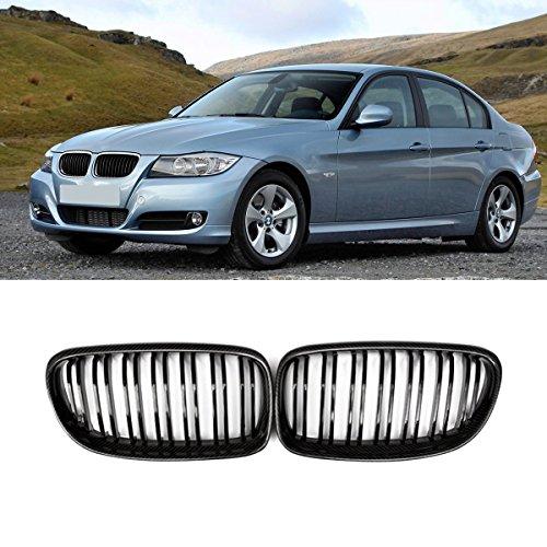(Fandixin E90 Grille, Carbon Fiber Front Kidney Grill for BMW 3 Series E90 E91 Facelift 2009-2011)