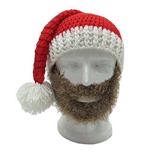 Short Brown Beard Costume (Qinni-shop Wig Beard Hats Handmade Knit Warm Winter Caps Ski Funny Mask Beanie For Men (Short, Brown))