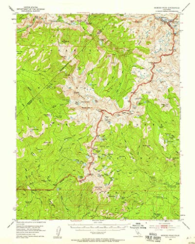 YellowMaps Merced Peak CA topo map, 1:62500 Scale, 15 X 15 Minute, Historical, 1953, Updated 1958, 20.8 x 16.6 in - Paper