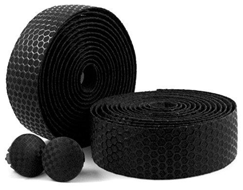 MARQUE Hex Grip Bar Tape - Road Bike Handlebar Tape 2PCS per Set (Black) ()