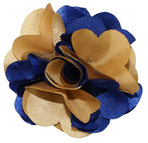 Ted and Jack - Classic Repp Two Tone Silky Flower Lapel Pin Boutonniere in Blue & Gold