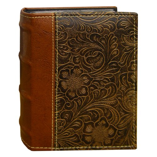 Western Album - Pioneer Photo Albums 100-Pocket Scroll Embossed Sewn Leatherette 2-Tone Cover Photo Album, Brown