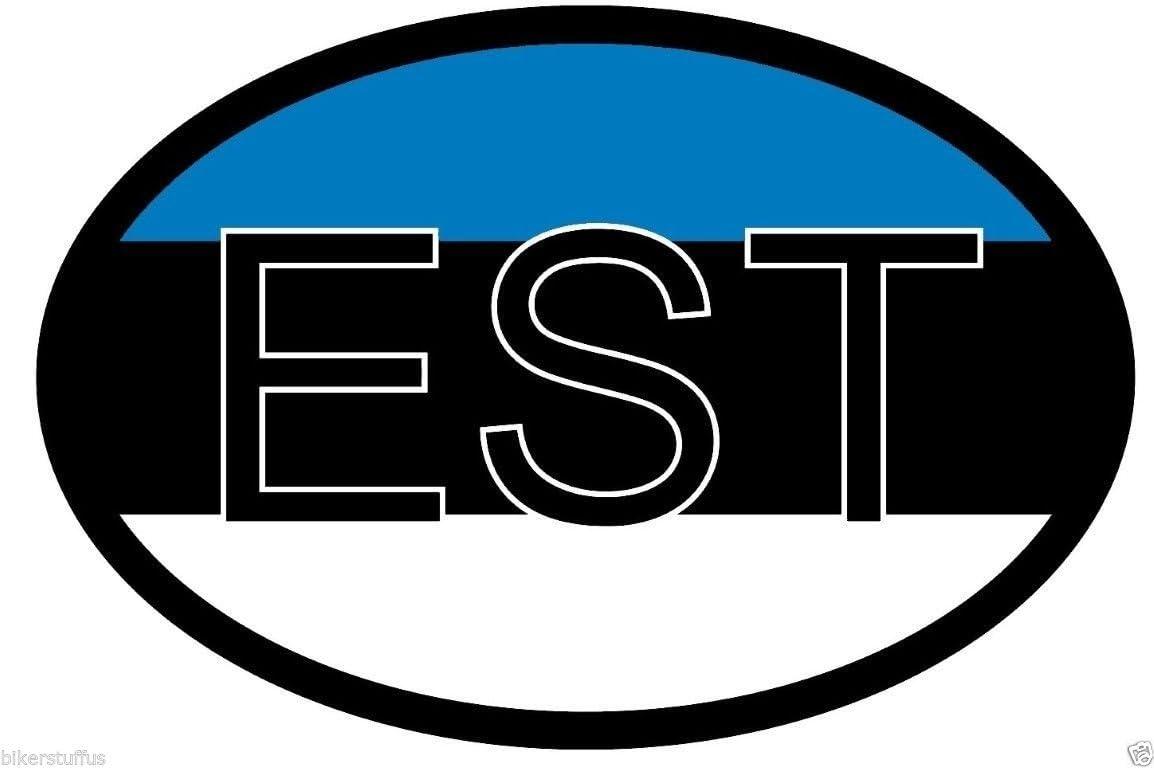 """Estonia Flag oval car window bumper sticker decal 5/"""" x 3/"""""""