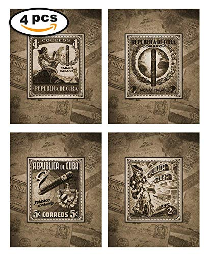 - Wallables Cuban Cigar Theme Mens Wall Decor Print Set in Espresso Brown Four 8x10 Vintage Wall Art Cigar Lounge, Barber Shop, Bachelor pad, Office, bar, Tavern, Smoking Room. Designed Exclusively