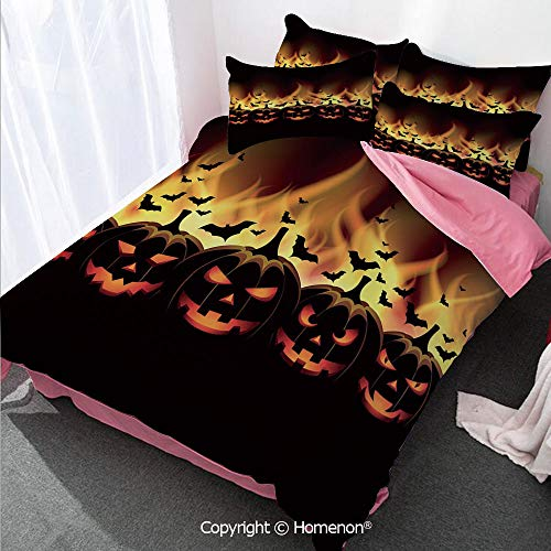 Homenon Vintage Halloween Girl's Room Cover Set Full Size,Happy Halloween Image with Jack o Lanterns on Fire with Bats,Decorative 3 Piece Bedding Set with 2 Pillow Shams Black Scarlet ()