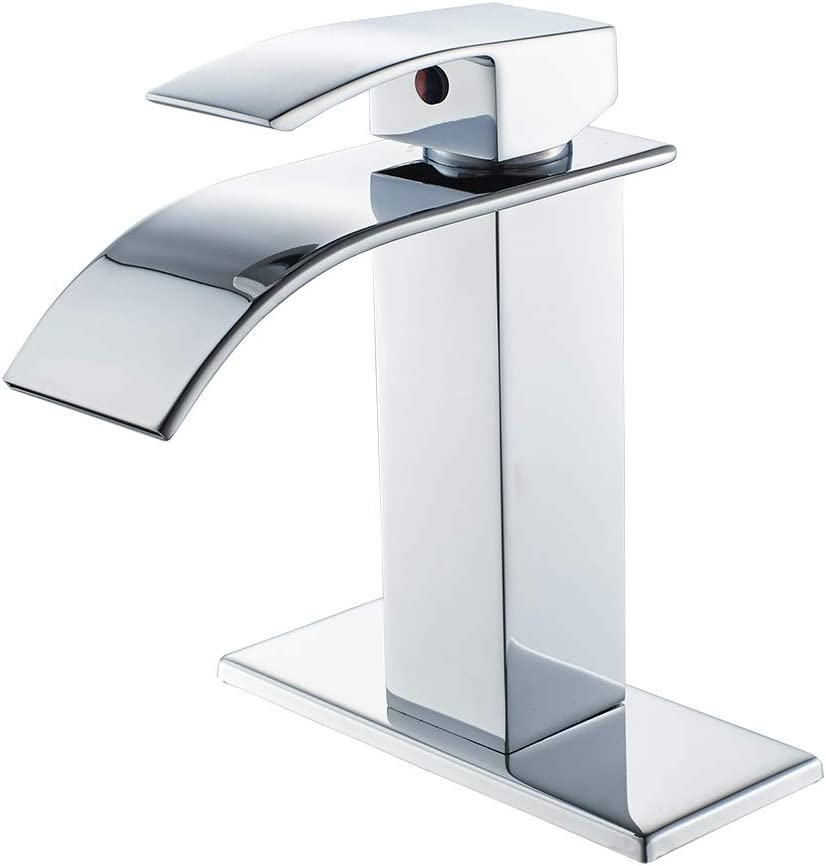 Chrome Bathroom Faucet Waterfall Single Handle Single Hole Bathroom Sink Faucet Washbasin Faucet With Deck Amazon Com
