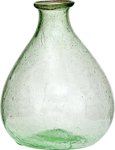 Luna Bazaar Recycled Glass Vase (5.25-Inch, Pear Design, Light Green) - Decorative Flower Vase - For Home Decor, Party Decorations, and Wedding Centerpieces - Pear Glass Jewels