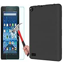 Fire 7 2015 Case,Fire 7 Case With Tempered Glass Screen Protector,LOOKLY Double Layer Rugged Shockproof Armor Protective Case for Amazon Fire 7 Inch Tablet (5th Gen - 2015 release) (Black+Black)