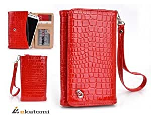 Bloutina RED CROC [Diva Series] | Apple iPhone 3G / 4 / 4s Mobile Phone Case with Cash & Cards Holder Wrist-let Women's...
