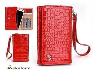[Diva] Samsung I997 Infuse 4G Mobile Phone Universal Case Wrist-let Shoulder Bag Women's Wallet Clutch - RED CROC...