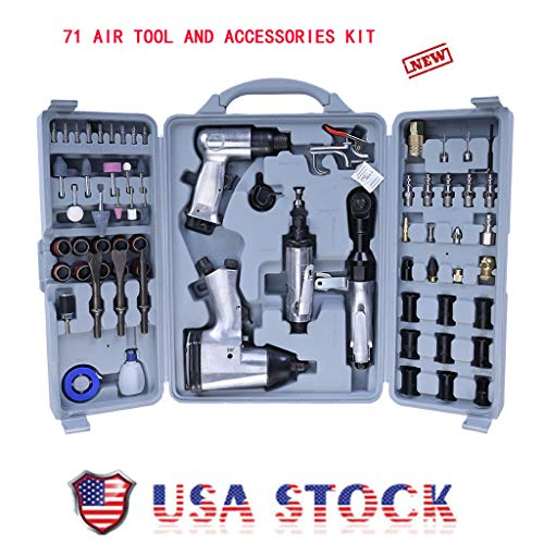 71 Piece Air Tool Kit, Professional Air Tool Air Impact Wrench and Accessories Kit with Storage Case for All Automotive, Home Improvement (Silver, 71 pc Air Tool and Accessories Kit ()