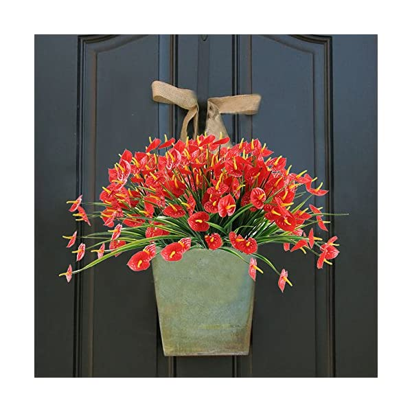 NAHUAA-4PCS-Artificial-Anthurium-Flowers-Fake-Greenery-Plants-Faux-Plastic-Wheat-Grass-Shrubs-Table-Centerpieces-Arrangements-Home-Kitchen-Office-Indoor-Outdoor-Spring-Decorations-Red