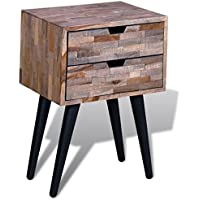 Festnight Bed Room Sideboard Cabinet Nightstand with 2 Drawers, Reclaimed Teak