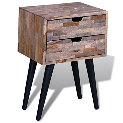 Festnight Bed Room Sideboard Cabinet Nightstand with 2 Drawers, Reclaimed Teak (Teak Reclaimed)