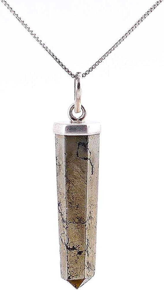 ARITZI - Colgante delicado de Plata de Ley 925 en forma de punta en Piedra natural - Incluye una Cadena
