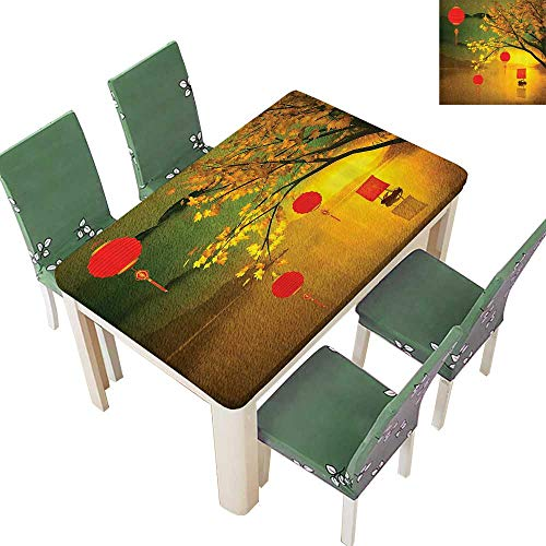 Printsonne Polyester Tablecloth Traditial Chinese Lanterns Hanging from Pale ll Trees Over The Lake Easy Care Spillproof 50 x 102 Inch