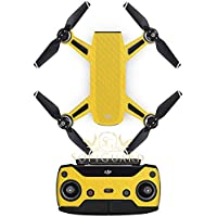 SopiGuard Yellow Carbon Fiber Precision Edge-to-Edge Coverage Vinyl Sticker Skin Controller 3 x Battery Wraps for DJI Spark