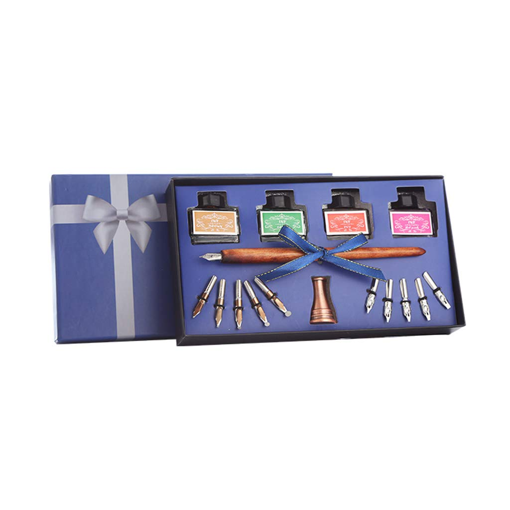 Huhudde Wooden Caligraphy Dip Pen Hook Line Signature Fountain Pens with Ink Nibs Set Offices School Stationery Gift