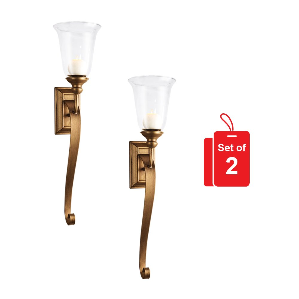 Set of 2 Gold Campbell Wall Sconce - Bronze Metal with Glass Hurricane Candle Holder (29 Inches High) by Emenest