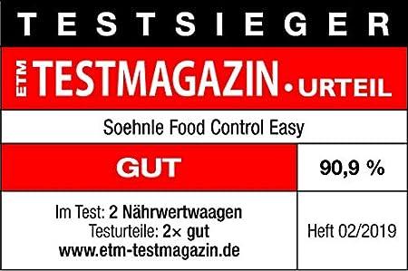Soehnle Food Control Easy - Báscula de cocina de vidrio y plástico, color blanco: Amazon.es: Hogar