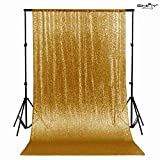 Gold Shimmer Sequin Fabric Photography Backdrop (5FTx6FT)