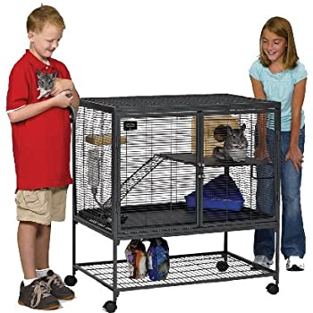 """MidWest Deluxe Critter Nation Single Unit Small Animal Cage (Model 161) Includes 1 Leak-Proof Pans, 1 Shelf, 1 Ramps w/ Ramp Cover & 4 locking Wheel Casters, Measures 36""""L x 25""""W x 38.5""""H Inches, Ideal for Dagus, Rats, Ferrets, Sugar Gliders"""