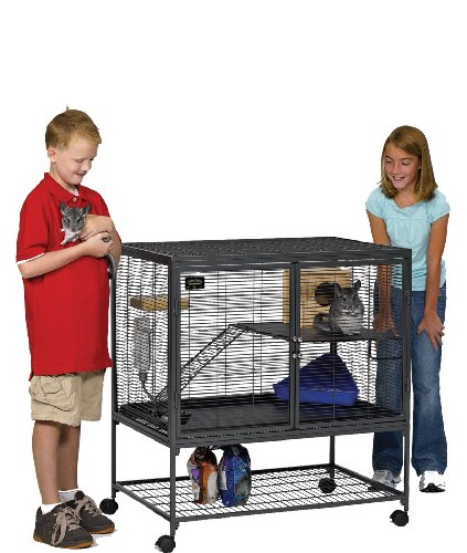 (MidWest Deluxe Critter Nation Single Unit Small Animal Cage (Model 161) Includes 1 Leak-Proof Pans, 1 Shelf, 1 Ramps w/ Ramp Cover & 4 locking Wheel Casters, Measures 36