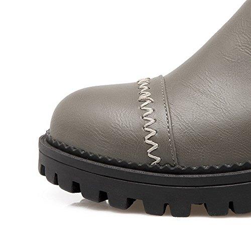 VogueZone009 Damen Reißverschluss PU Leder Rund Zehe Mittler Absatz Rein Pumps Schuhe Grau
