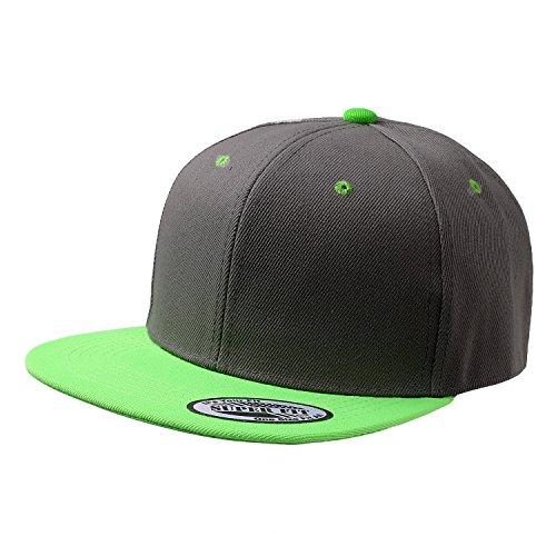 Cap911 Blank Adjustable Flat Bill Plain Snapback Hats Caps (All Colors) (One Size, Dark Grey/Lime)