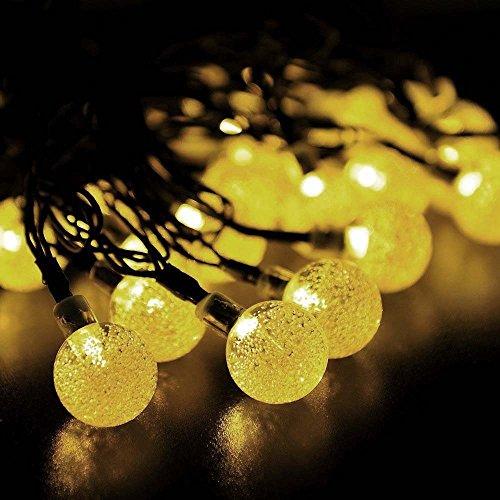 WishWorld Outdoor Solar Fairy String Lights, Waterproof Globe String Lights, 20ft 30 LEDs Christmas Lights...