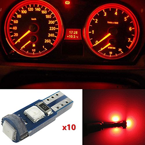 WLJH 10pcs Super Bright Red 3030SMD T5 74 2721 Canbus Led Wedge Bulb Dashboard Gauge Cluster LED Light Instrument Panel Indicator Lamp Bulbs for BMW Honda Chevrolet (Polarity Indicator)