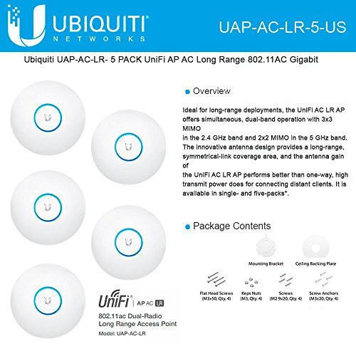 Ubiquiti Networks UAP-AC-LR-5-US UniFi Ap, AC Long Range, 5-Pack, No PoE by Ubiquiti Networks