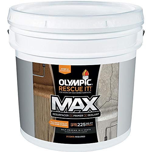 Olympic Stain Rescue It Max Deck Resurfacer + Primer + Sealant, Amaretto, - Stain Amaretto