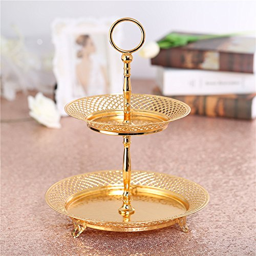2 Tier Cupcake Tower Stand Decorative Platter Plates Gold Stunning Sturdy Display Fruit Dessert for Birthday Wedding Tea Party Bridal Shower Home Use Tabletop Centerpiece - Round Mesh (Bridal Shower Platter)