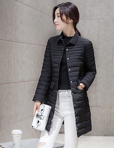 Solid Polypropylene Long Casual Daily Women'S XL ZHUDJ Coat Regular Polyester Black Sleeves Simple Padded X0Axzwv