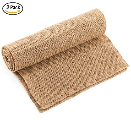 CCTRO Burlap Hessian Table Runner 12x108 Inch Rustic Natural Jute Country Vintage Wedding Decoration Rustic Kitchen Decor, Farmhouse (Baby Shower Coffee)