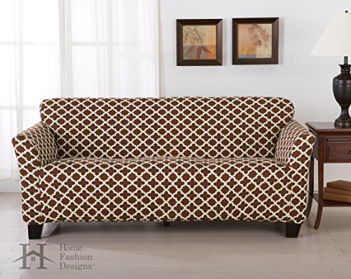Form Fit, Slip Resistant, Stylish Furniture Cover / Protector Featuring Lightweight Stretch Twill Fabric. Brenna Collection Basic Strapless Slipcover. By Home Fashion Designs Brand. (Sofa, Chocolate) (Stretch Twill Slip)