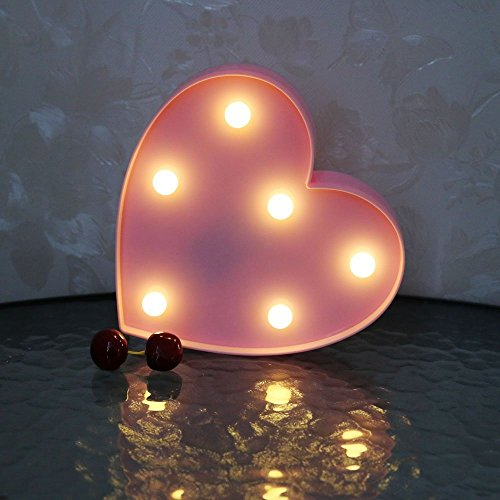 CSKB LED Love Letter Lights For Wedding Light Up Love Marquee Sign Battery Operated Romantic Night Light Table Lamp Christmas Xmas Gift Home Party Wall Hanging Decoration (Pink heart s) by CSKB