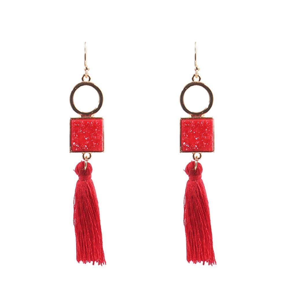 Red Tassel Resin Druzy Earrings Bridesmaid Wedding Earrings Gift (Red)