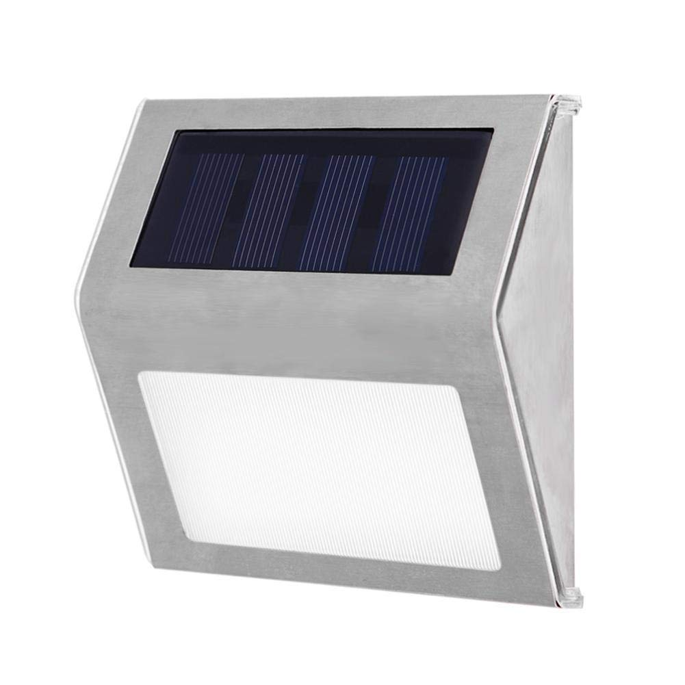 Solar Stair Lights, EpicGadget Waterproof Outdoor LED Step Lighting 3 LED Solar Powered Step Lights Stainless Steel Outdoor Lighting for Steps Paths Patio Stairs (12 Pack)
