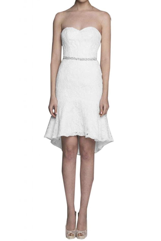 TOSKANA BRAUT Stilvoll Herzform Abendkleider Kurz Spitze Braut Cocktail Party Ball Hochzeitskleider