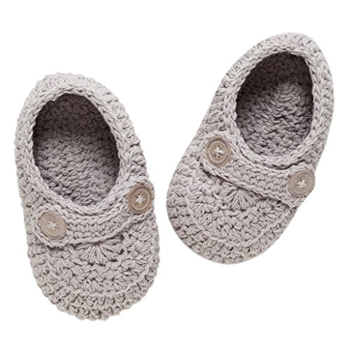 Knit Newborn Booties - Elegant Baby Bootie Boy, Gray