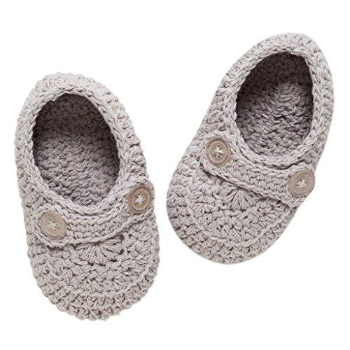 Hand Knit Booties - Elegant Baby Bootie Boy, Gray