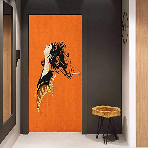 Automatic Door Sticker Youth Young Fashion Woman Portrait with Abstract Details on Orange Curly Hair and Earrings Easy-to-Clean, Durable W23.6 x H78.7 Multicolor
