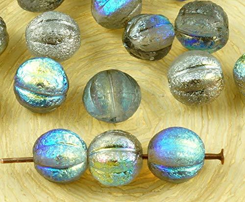 (16pcs Crystal Silver Rainbow Metallic Dichroic Vitrail Half Rough Rustic Etched Round Melon Halloween Pumpkin Fruit Czech Glass Beads 8mm)