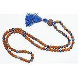 Necklace Lapiz lazuli Rudraksha Mala beads 108 knotted Japamala