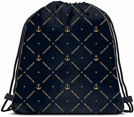 63251vdgxdg Marine Golden Anchor Vintage Drawstring Backpack ...
